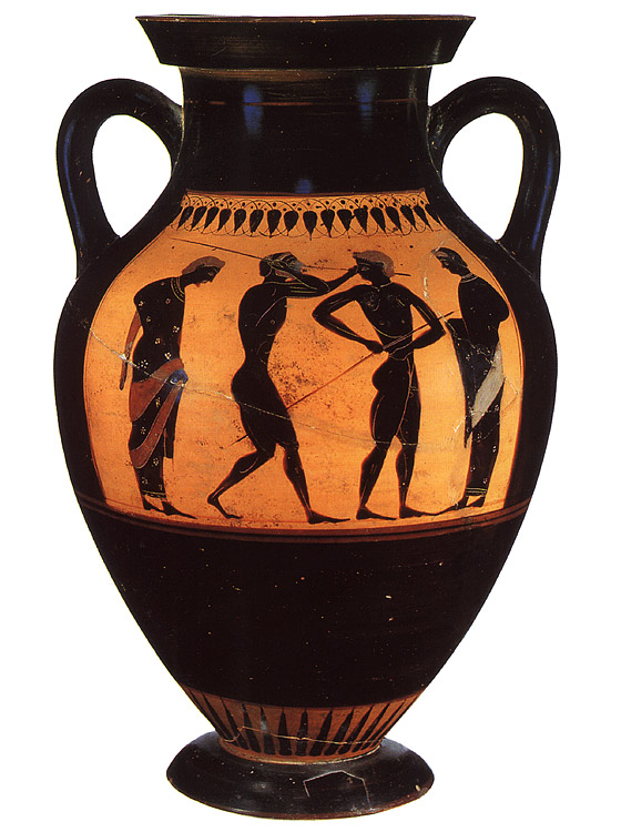 "Athletes with javelins and trainers. Black-figure amphora. Attic. By the ""Swing Painter."" Clay. Ca. 530 BCE.  Inv. no. Б. 1485 (St. 50, Б. 180). Saint Petersburg, The State Hermitage Museum"