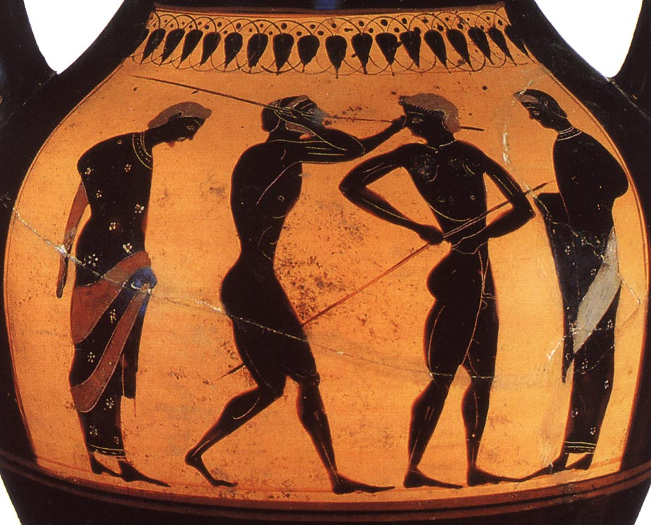 "Athletes with javelins and trainers. Detail. Black-figure amphora. Attic. By the ""Swing Painter."" Clay. Ca. 530 BCE.  Inv. no. Б. 1485 (St. 50, Б. 180). Saint Petersburg, The State Hermitage Museum"