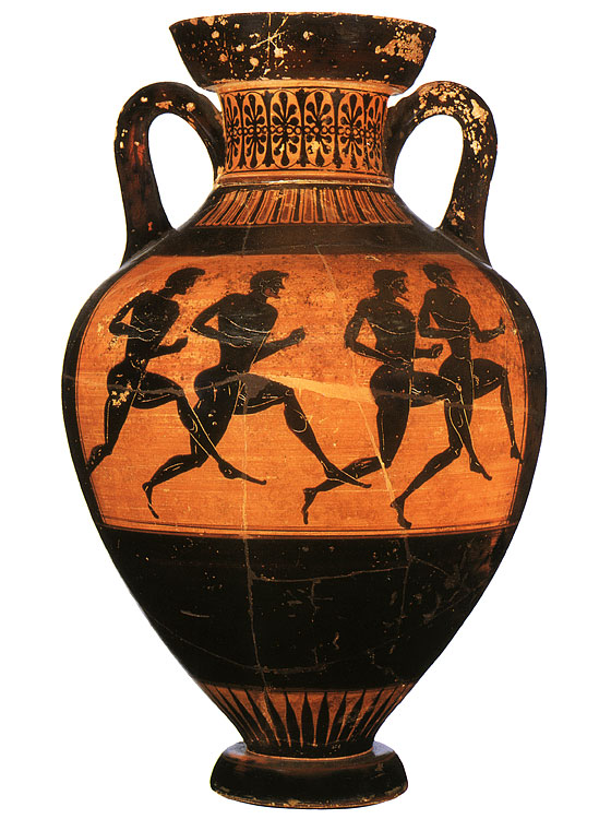 Runners. Black-figure Panathenaic amphora. Attic. From the Vatican group G 23. Clay. Ca. 500 BCE. Height: 46 cm. Inv. No. Б. 4262. Saint Petersburg, The State Hermitage Museum