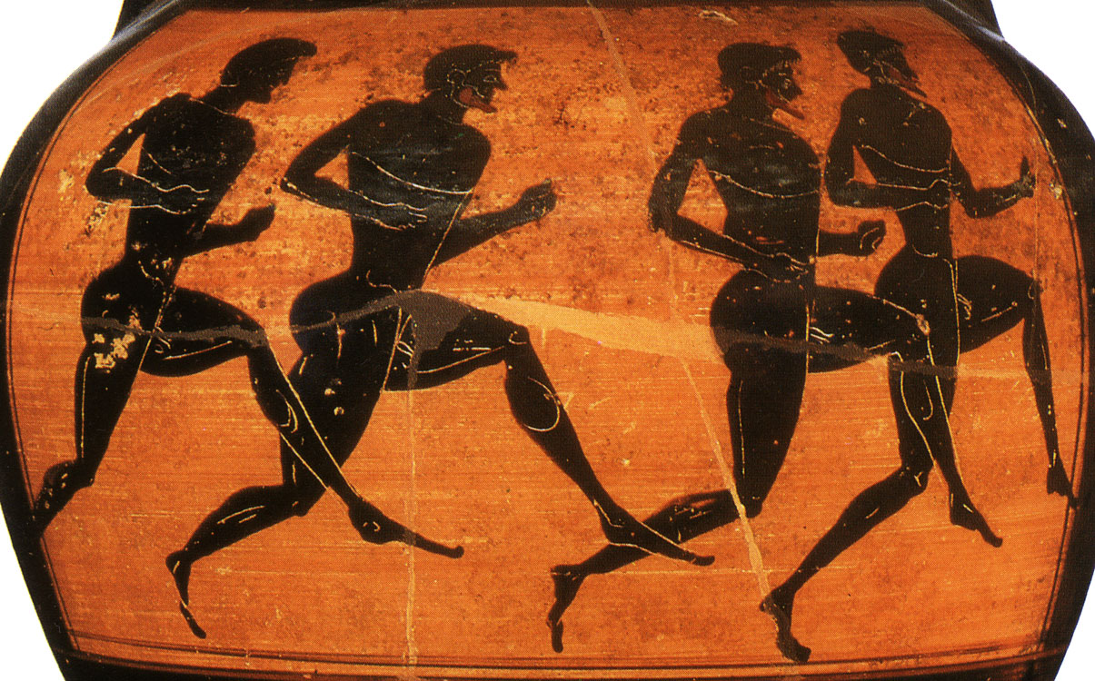 Runners. Detail. Black-figure Panathenaic amphora. Attic. From the Vatican group G 23. Clay. Ca. 500 BCE. Height: 46 cm. Inv. no. Б. 4262. Saint Petersburg, The State Hermitage Museum