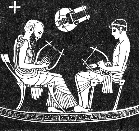 The Lesson of Linos. Red-figure skyphos. By the Pistoxenos Painter. Clay. 475 BCE.