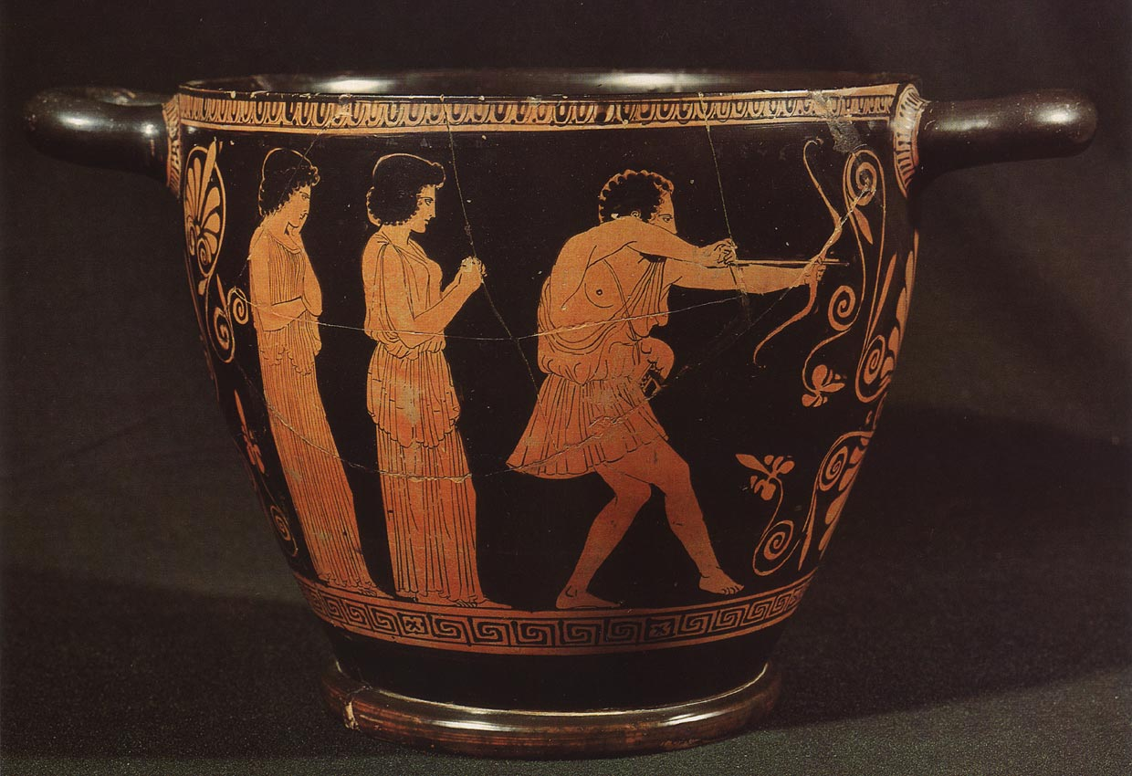 Odysseus shooting a bow at the crowd of the suitors. Red-figure skyphos. Attic. By the Penelope Painter. Clay. Ca. 440 B.C. Height 20 cm. Berlin, State Museums.