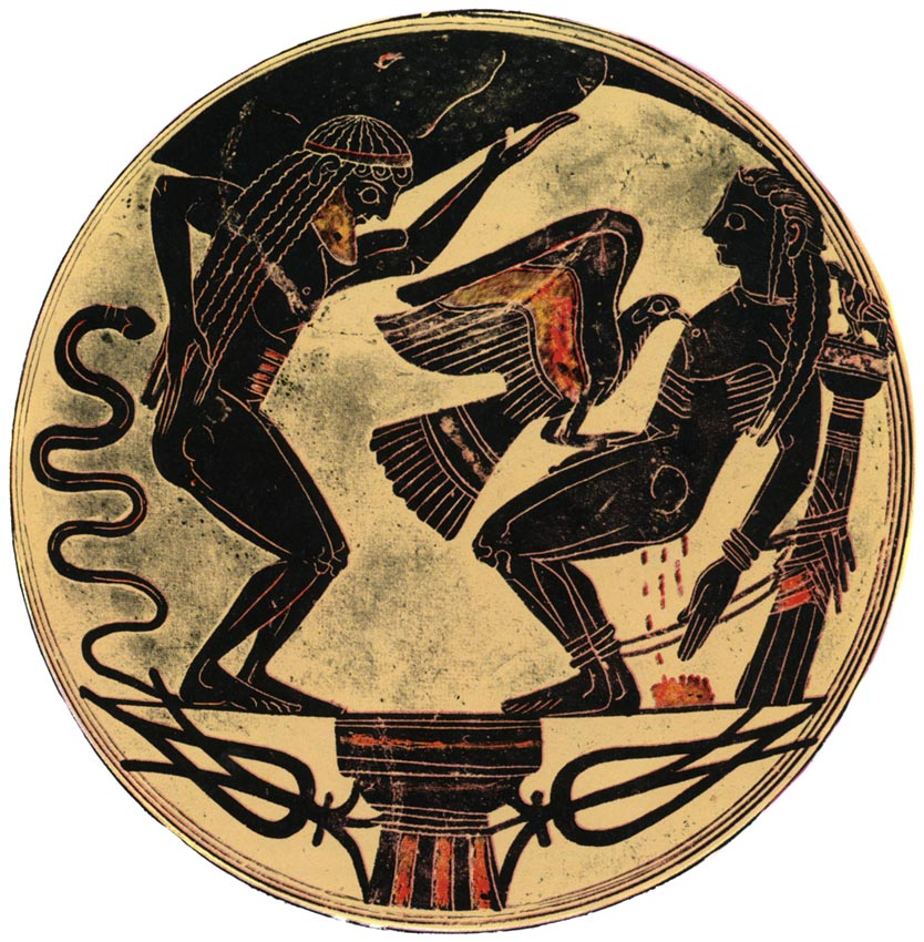 The torments of Atlas and Prometheus. Cup from Laconia. 550 BCE. Rome, Vatican Museums