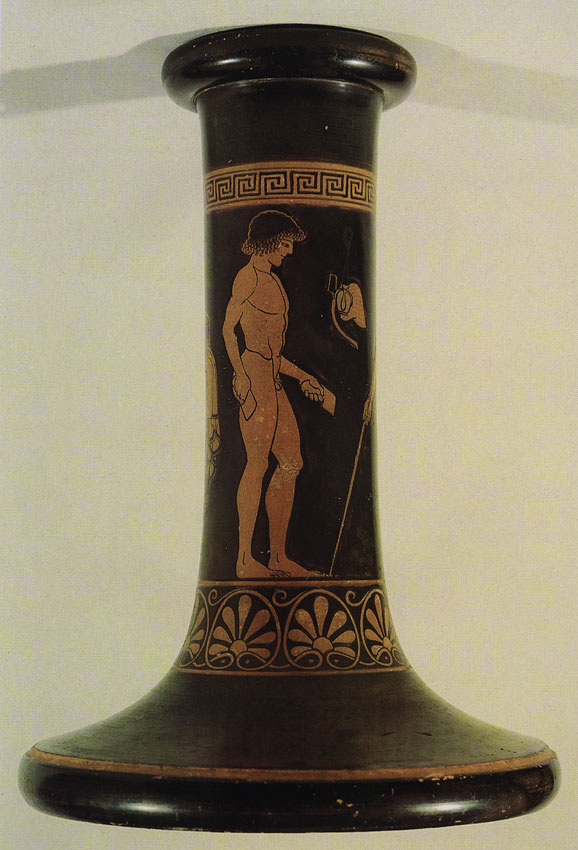 Athlete with dumbbells. Red-figure prop for a cup. Attic. By the Antiphon Painter. Clay. Ca. 480 BCE. Berlin, State Museums