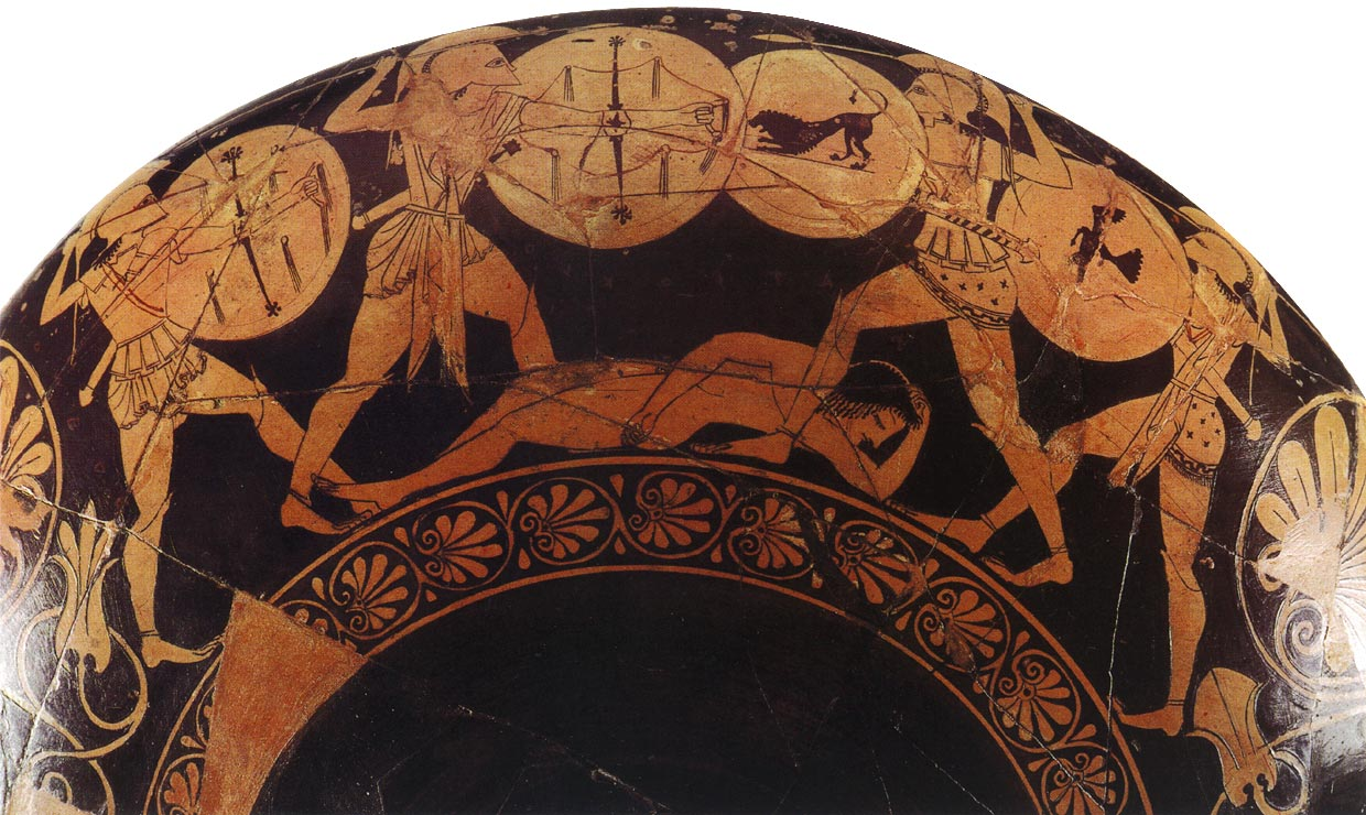 Battle of Aias, Aeneas, Diomedes and Hippasus for the dead body of Patroclus. Red-figure cup. Attic. By the Oltos Painter, by potter Euxitheus. Clay. Ca. 510 BCE.  Berlin, State Museums