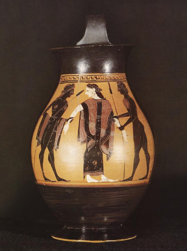 Abduction of Helen by Theseus and Pirithous (?). Black-figure vessel. Attic. By the Amasis Painter. Clay. 550—525 BCE.  Berlin, State Museums