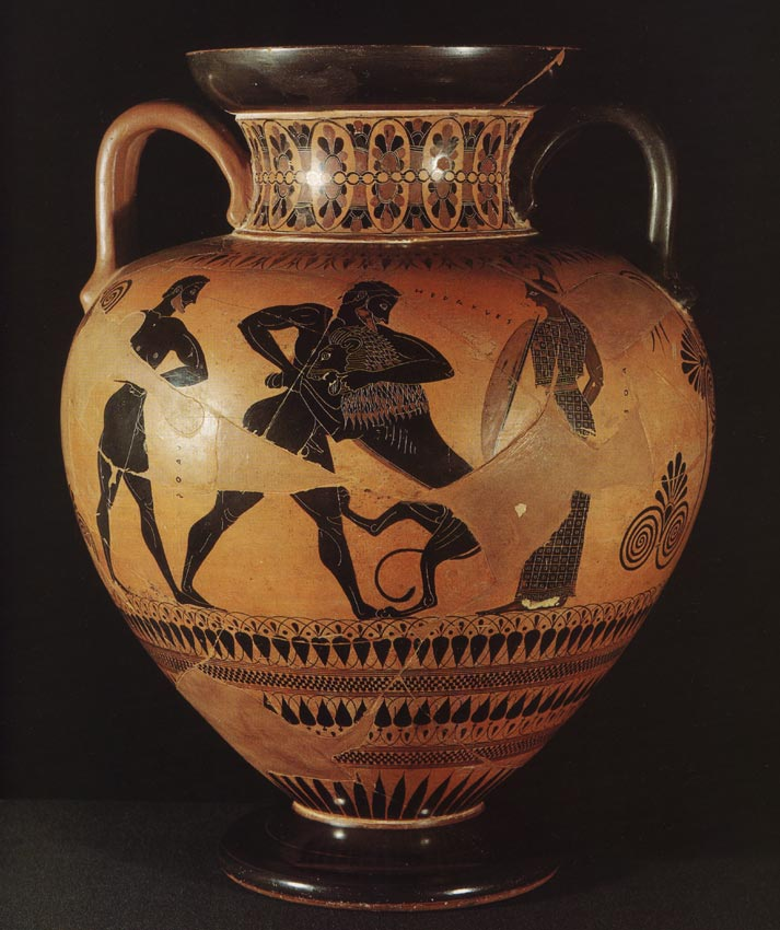 Struggle of Heracles against the Nemean lion. Red-figure amphora. Attic. (Goddess Athene on the right; coachman Iolaus on the left.) By the Exekias Painter. Clay. Ca. 550 BCE.  Berlin, State Museums