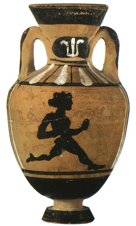Diaulos runner. Black-figure Panathenaic amphora. Attic. From the Boulas group. Clay. End of the 5th — beginning of the 4th century BCE. Height: 7.1 cm. Inv. No. Б. 9201. Saint Petersburg, The State Hermitage Museum