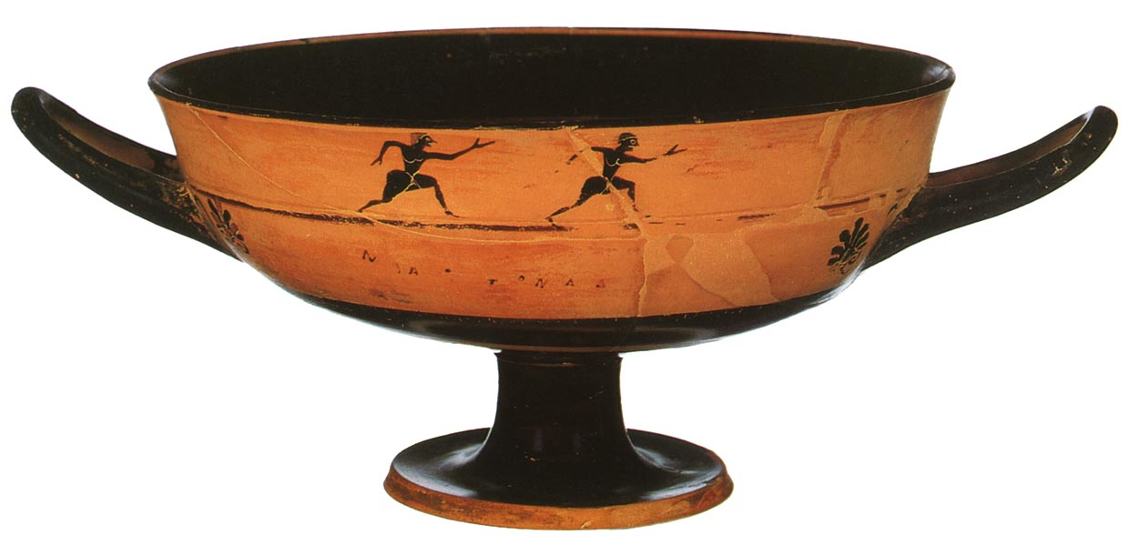 """Foot-race. Black-figure cup by a minor master, of the """"lip cup"""" type. Attic. Clay. Third quarter of the 6th century BCE.  Inv. No. 8. Ghent (Belgium), Ghent university"""
