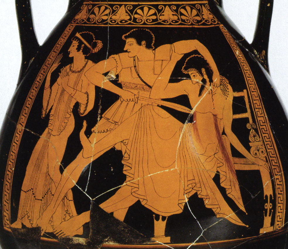 Orestes kills Aegisthus. (On the left Chrysothemis). Red-figure pelike. Detail. Attic. By the Berlin Painter. Clay. Ca. 500 BCE. Inv. No. IV 3725. Vienna, Museum of Art History, Collection of Classical Antiquities
