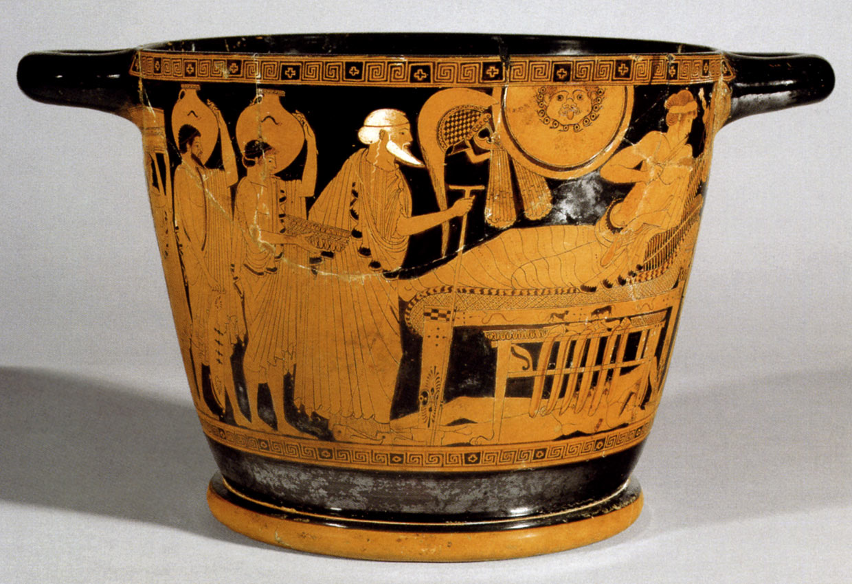 Priam asks Achilles for redemption of Hector's body. Red-figure skyphos. Side A. Attic. By the Brygos Painter. Clay. Ca. 490 BCE.  Inv. No. IV 3710. Vienna, Museum of Art History, Collection of Classical Antiquities