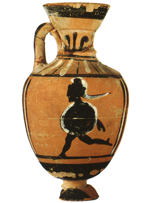 Hoplitodromos. Black-figure Panathenaic amphora. Attic. From the Boulas group. Clay. End of the 5th — beginning of the 4th century BCE. Inv. no. Б. 2614. Height: 7.2 cm. Saint Petersburg, The State Hermitage Museum
