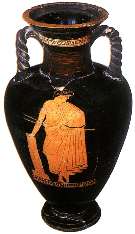 Paidotribe (trainer). Red-figure amphora (with twisted handles). Attic. By the Kleophrades Painter. Clay. 490—480 BCE. Height: 47 cm. Inv. no. B. 1852 (St. 1669, B. 613). Saint Petersburg, The State Hermitage Museum