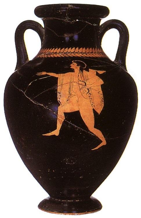 Apollo pursuing Heracles. Red-figure amphora. Attic. By the Munich Painter, Amphora 2306. Clay. 505—500 BCE.  Inv. No. Б.1565 (St. 1639, Б. 602). Saint Petersburg, The State Hermitage Museum