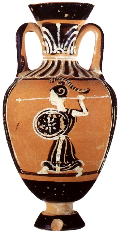Statue of Athene. Panathenaic black-figure amphora. Attic. From the Boulas Group. Clay. Late 5th — early 4th centuries BCE. Height 7.5 cm. Inv. No. Б. 7014. Saint Petersburg, The State Hermitage Museum