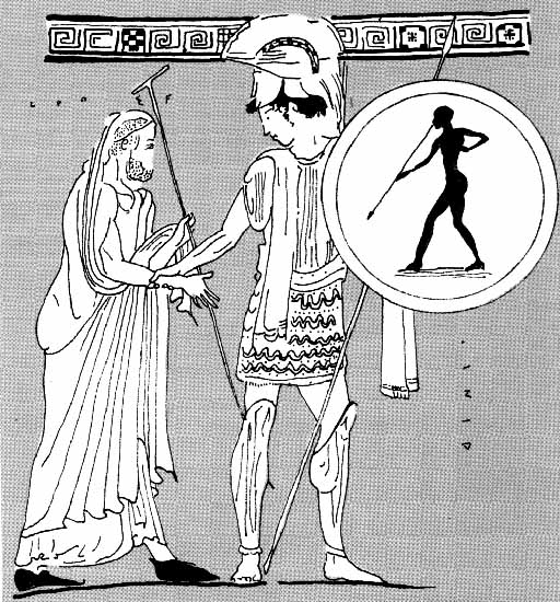 Aeneas' escape with old-aged Anchises from Troy. Image on the attic vase (lekythos) from Gela. 5th century BCE. Museum of Archaeology.