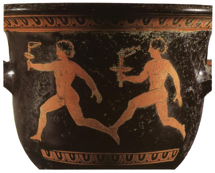 Two athletes; lampadedromia. Red-figure bell-crater. Apulia. Clay. First half of the 4th century BCE. Height 21 cm. Inv. No. IV 3734. Vienna, Museum of Art History, Collection of Classical Antiquities