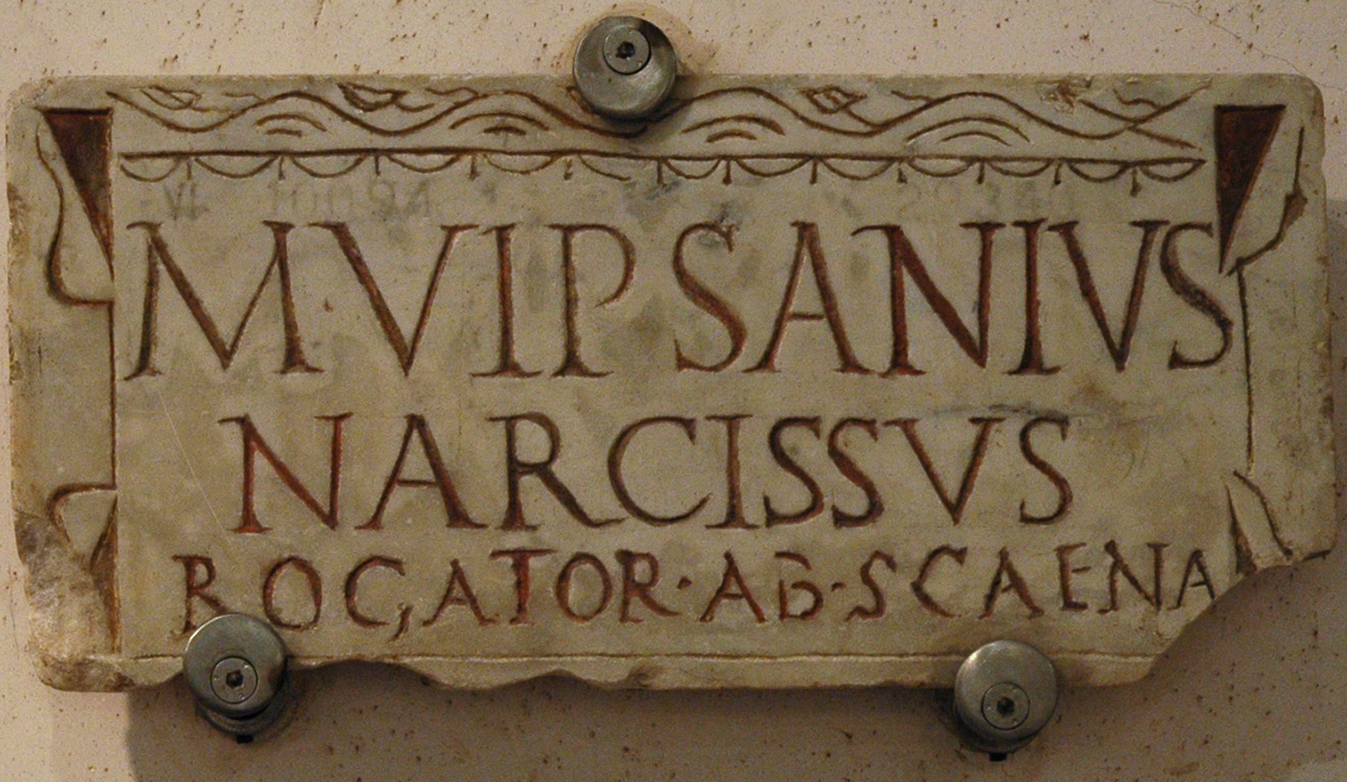 A funerary slab of M. Vipsanius Narcissus, Agrippa's freedman. Marble. Beginning of the 1st century. CIL VI, 10094. Inv. No. 29340. Rome, Roman National Museum, Baths of Diocletian