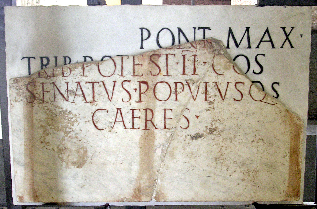 The honorific inscription for an emperor from Julian-Claudian dynasty. Marble. Second quarter of the 1st century CE. CIL XI 3604. Rome, Vatican Museums, Gregorian Profane Museum