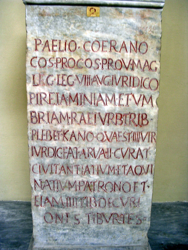Base with modern honorific inscription in the name of Publius Aelius Coeranus. The base — mid-3rd century CE. CIL XIV 3586 = ILS 1158 = Inscr. It. IV, 1, 99. Inv. No. 1702. Rome, Vatican Museums, Chiaramonti Museum, XXXIII. 2