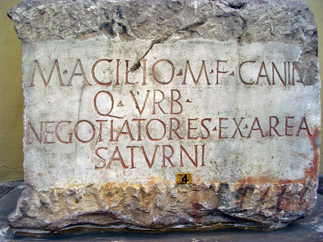 The honorific inscription for Marcus Acilius Caninus. Ca. 35—29 BCE. CIL I 636 = XIV 153 = ILS 892 = ILLRP 435. Inv. No. 1925. Rome, Vatican Museums, Chiaramonti Museum, XLIV. 4