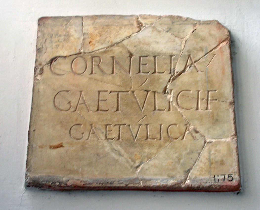 The funerary inscription of Cornelia Gaetulica. Second half of the 2nd century CE. CIL VI 1392 = CIL VI 31643 = ILS 958. Inv. No. 1175. Rome, Vatican Museums, Pius-Clementine Museum, Apoxyomenos Cabinet, 5
