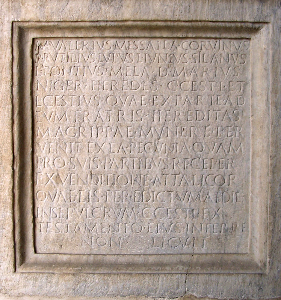 Base with the inscription of the heirs of Gaius Cestius. Ca. 25—12 BCE. CIL VI 1375 = ILS 917a. Inv. No. NCE 2386. Rome, Capitoline Museums, Palazzo Nuovo, Atrium