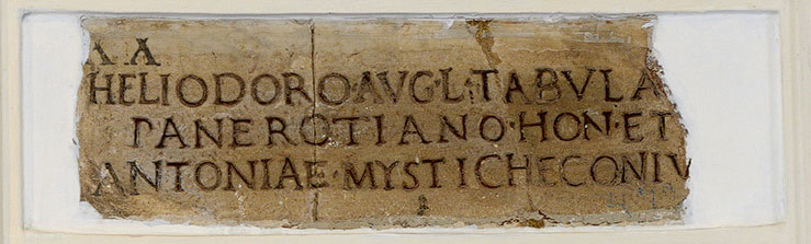 Funerary inscription of Heliodorus Panerotianus and Antonia Mystiche. Ca. 1—14 CE. CIL VI 4037. Inv. No. 4748. Rome, Capitoline Museums, Palazzo Nuovo, Gallery