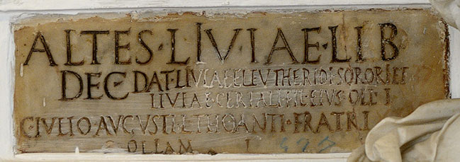Funerary inscription of the relatives of Altes. Ca. 1—14 CE. CIL VI 4053. Inv. No. 4740. Rome, Capitoline Museums, Palazzo Nuovo, Gallery