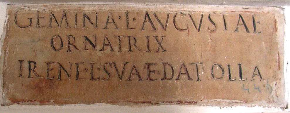 Funerary inscription of Irene, the freedwoman of Gemina. Ca. 14—40 CE. CIL VI 3994. Inv. No. 4725. Rome, Capitoline Museums, Palazzo Nuovo, Gallery