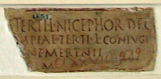 Funerary inscription of Olympia, the wife of Nicephor. Ca. 1—40 CE. CIL VI 3930. Inv. No. 4451. Rome, Capitoline Museums, Palazzo Nuovo, Gallery