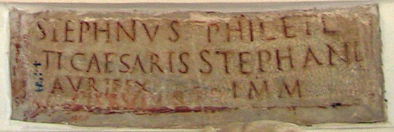 Funerary inscription of Stephanus and Philete. Ca. 1—14 CE. CIL VI 3951. Inv. No. 4450. Rome, Capitoline Museums, Palazzo Nuovo, Gallery