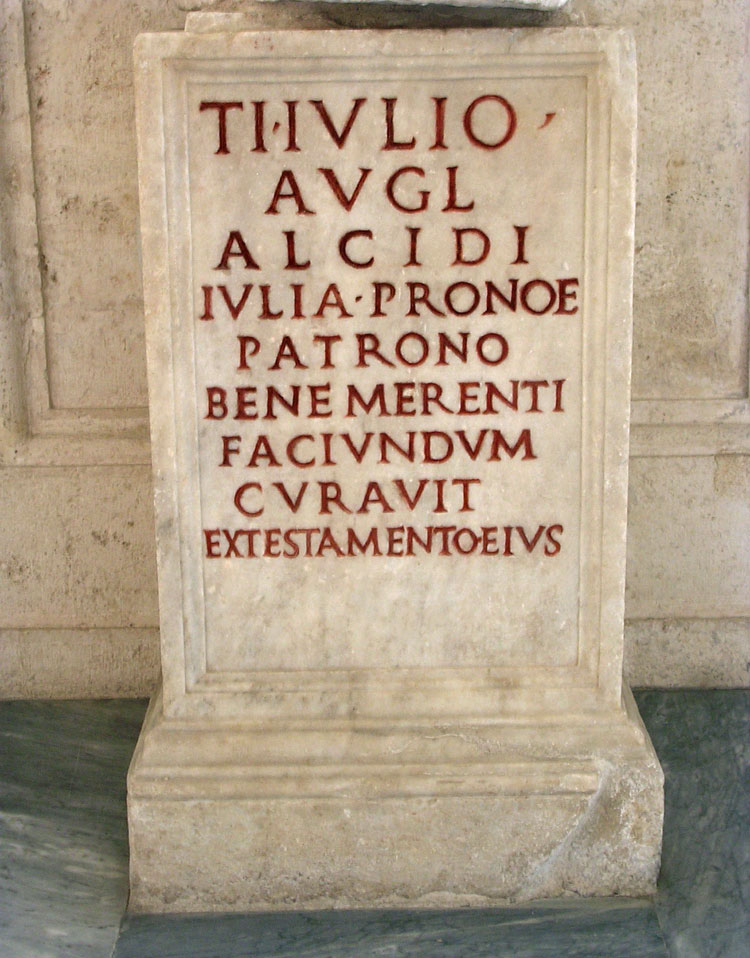 Funerary inscription of Tiberius Julius Alcidus. Ca. 14—37 CE. CIL VI 19816 Rome, Capitoline Museums, Palazzo Nuovo