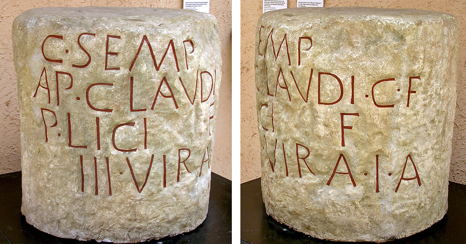 Cippus (stone marker) listing the names of the triumviri agris iudicandis adsignandis, the officials responsible for expropriating and redistributing public farmland 131 BCE. Copy. CIL I2 639 = ILLRP 470. Inv. No. MCR 145. Rome, Museum of Roman Civilization
