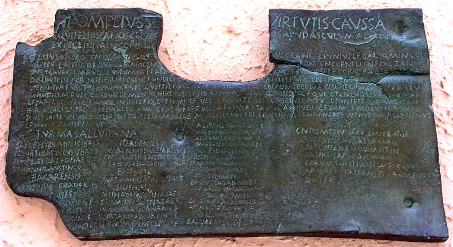 Bronze tablet on which are engraved two decrees by Gnaeus Pompeius Strabo; in the first, Roman citizenship is granted to several Iberian equestrians. 89 BCE (or a copy from the reign of Vespasian, 69—79 CE). Copy. CIL I2 709 = CIL VI 37045 = ILS 8888. Inv. No. MCR 149. Rome, Museum of Roman Civilization