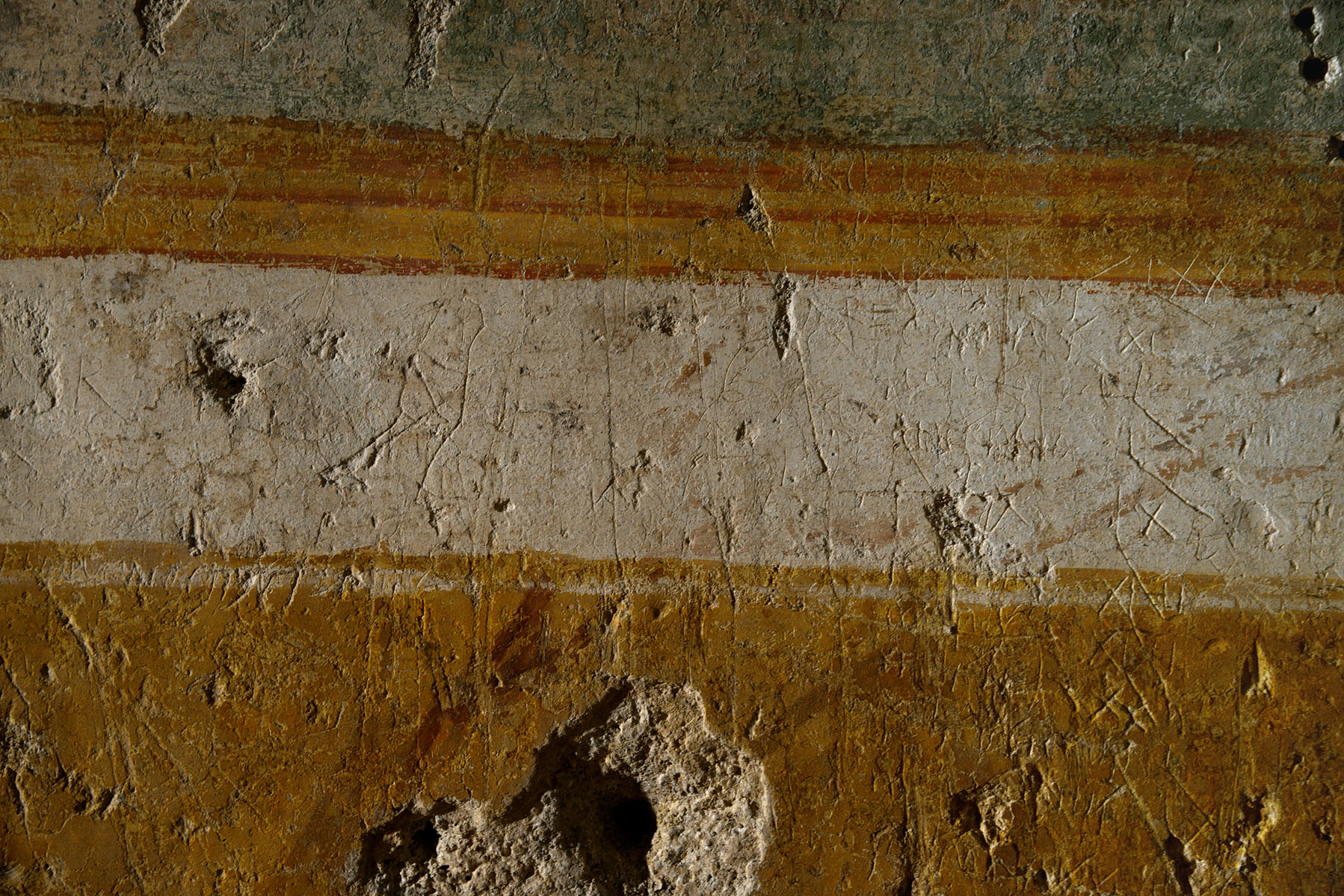 Graffiti on a wall of an ancient market (Macellum Liviae?) under the basilica Santa Maria Maggiore in Rome. 4th century CE. Rome, Basilica of Saint Mary Major, excavations