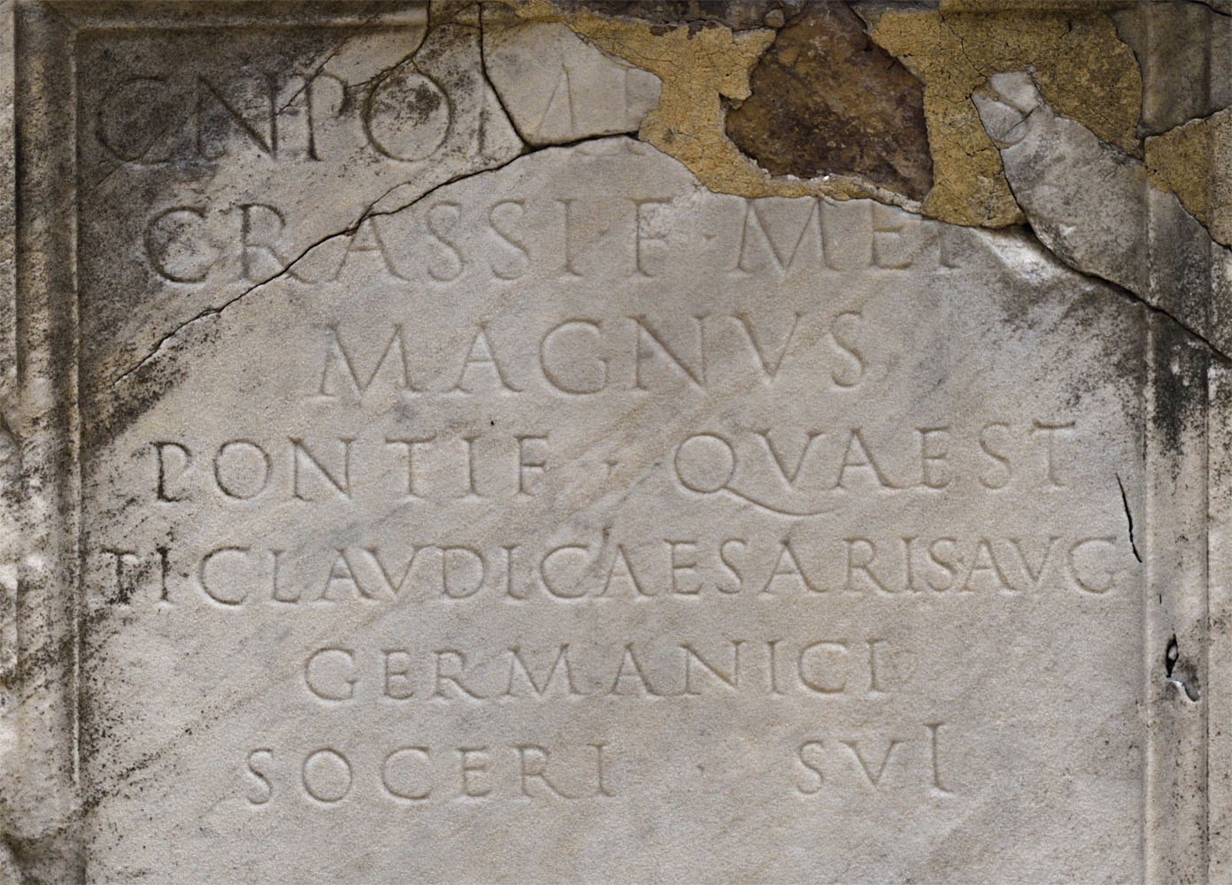 Funerary altar of Gn. Pompeius Magnus, the son-in-law of emperor Claudius. CIL VI 31722 = ILS. 955. Marble. 47 CE.  Inv. No. 78163. Rome, Roman National Museum, Baths of Diocletian