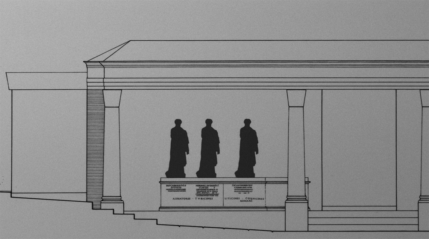 Reconstruction of the monument from the Curiae Veteres in honour of the members of Juian-Claudian dynasty. 55—56 C. E. Hall 5, Inv. No. 574363. Rome, Roman National Museum, Baths of Diocletian