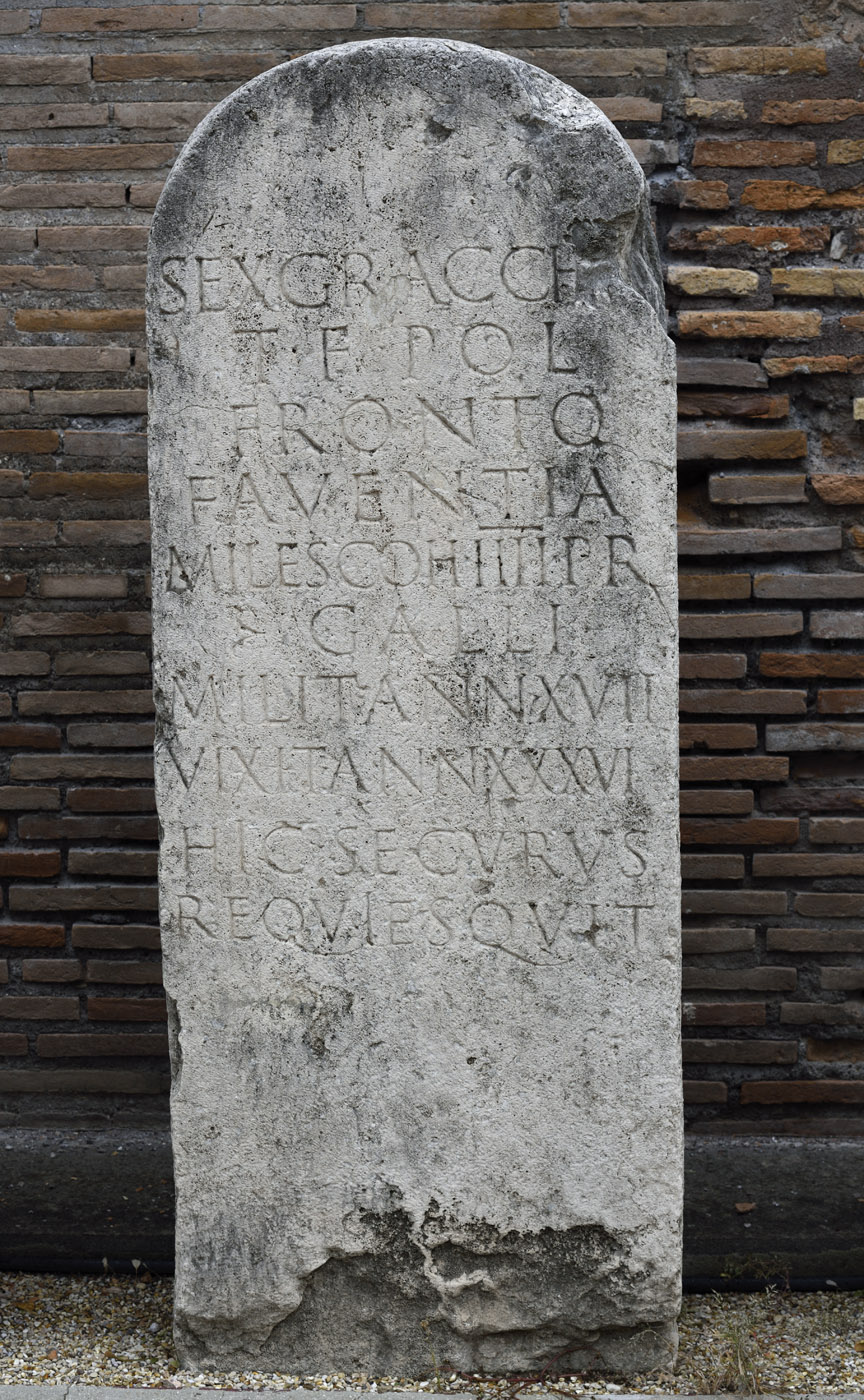 Funerary inscription of praetorian Sextus Gracchius Fronto. AE 1966, 33. Travertine. First half of the 1st century CE.  Rome, Roman National Museum, Baths of Diocletian