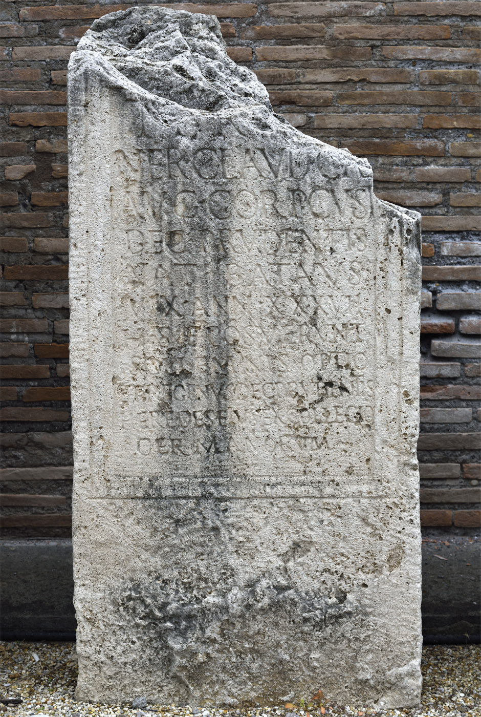 Funerary inscription of a bodyguard of Nero. AE 1952, 146. Travertine. 54—68 CE. Inv. No. 125662. Rome, Roman National Museum, Baths of Diocletian