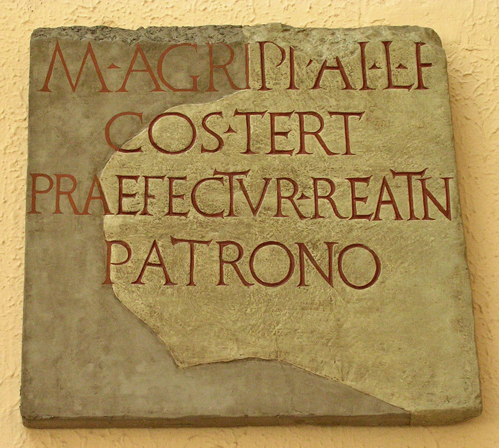 Inscription in honour of Marcus Vipsanius Agrippa. CIL. IX. 4677 = ILS. 6543 27—18 BCE. Copy.  Inv. No. MCR 281. Rome, Museum of Roman Civilization