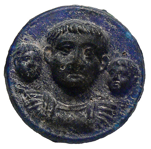 Drusus the Younger and his sons. Medallion. Blue glass. 1st century CE. Cologne, Romano-Germanic Museum