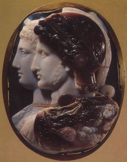 "Ptolemy II and Arsinoe (the ""Gonzaga Cameo""). Sardonyx. 3rd century BCE. 15.7 × 11.8 cm. Inv. No Ж 291. Saint Petersburg, The State Hermitage Museum"
