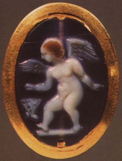 Eros with a butterfly. Sardonyx. 2nd century BCE. 2.7 × 2.5 cm. Inv. No APT 55. Saint Petersburg, The State Hermitage Museum