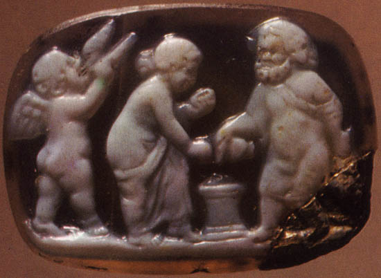 Sacrifice. Onyx. 1st century BCE. 1.2 × 1.8 cm. Inv. No Ж 7. Saint Petersburg, The State Hermitage Museum