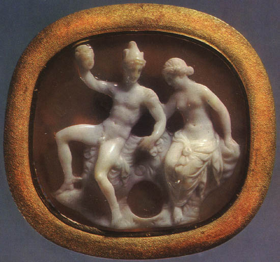 Perseus and Andromeda. Onyx. 1st century BCE. 3.1 × 2.8 cm. Inv. No Ж 297. Saint Petersburg, The State Hermitage Museum