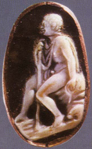 Young man sitting on a rock. Sardonyx. 1st century BCE. 1.9 × 1 cm. Inv. No Ж 30. Saint Petersburg, The State Hermitage Museum
