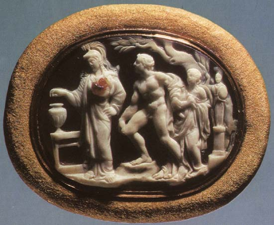 The trial of Orestes. Sardonyx. 1st century BCE.  Inv. No Ж 300. Saint Petersburg, The State Hermitage Museum