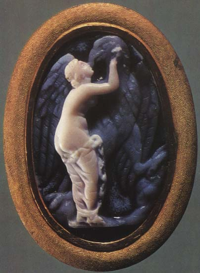 Aphrodite with an eagle. Onyx. 1st century BCE. 2.7 × 1.8 cm. Inv. No Ж 301. Saint Petersburg, The State Hermitage Museum
