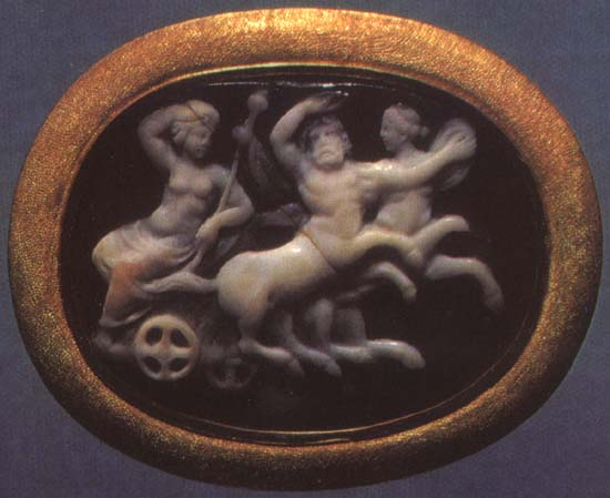 Dionysos on his chariot, drawn by centaurs. Sardonyx. 1st century BCE. 2.3 × 3.1 cm. Inv. No Ж 282. Saint Petersburg, The State Hermitage Museum